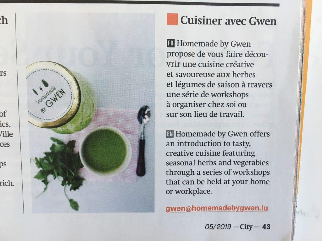 Cuisiner avec Gwen, article dans la presse
